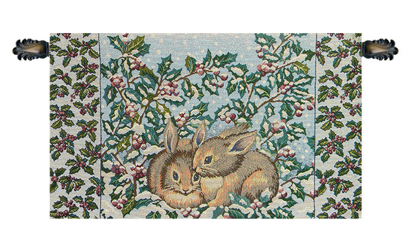 Holiday Bunnies Italian Tapestry Wallhanging