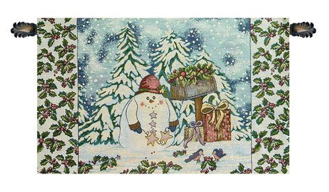 Holiday Snowman Italian Tapestry Wallhanging