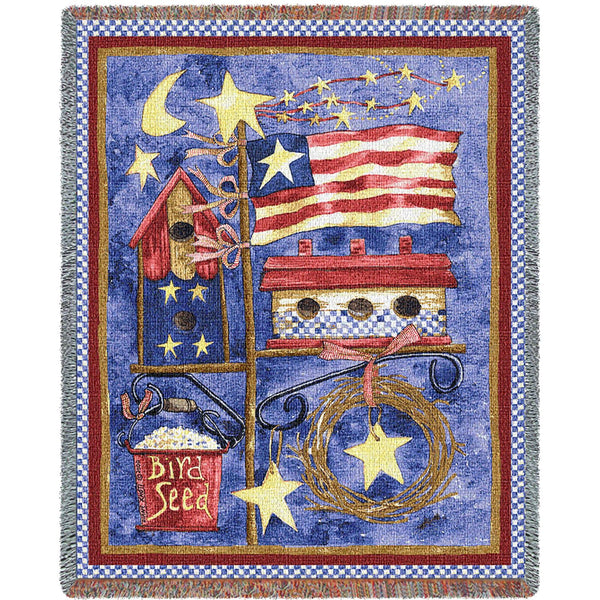 Flagpole Bird House Tapestry Throw