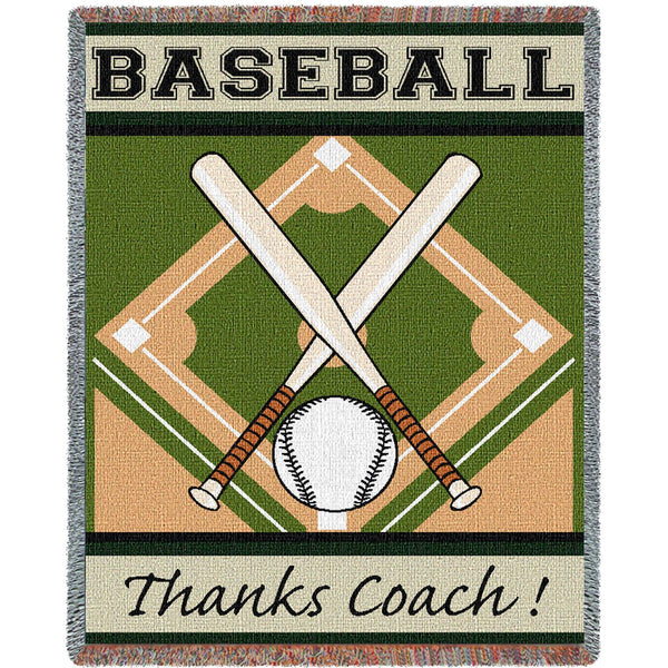 Thanks Coach Baseball Tapestry Throw