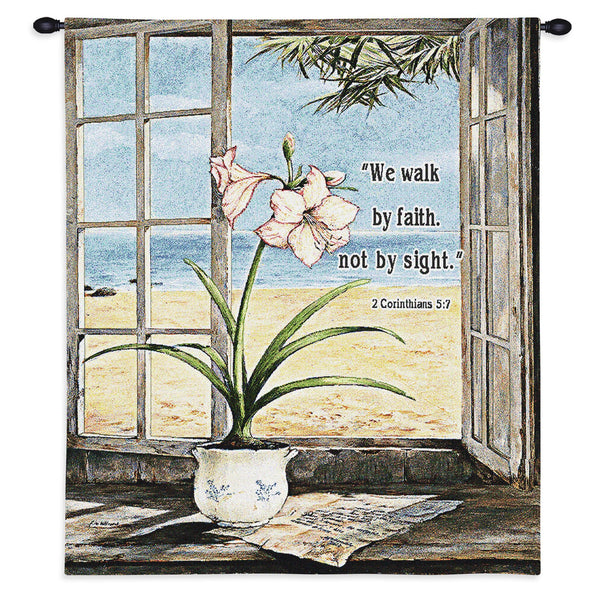 Ocean Amaryllis With Verse Tapestry Wall Hanging