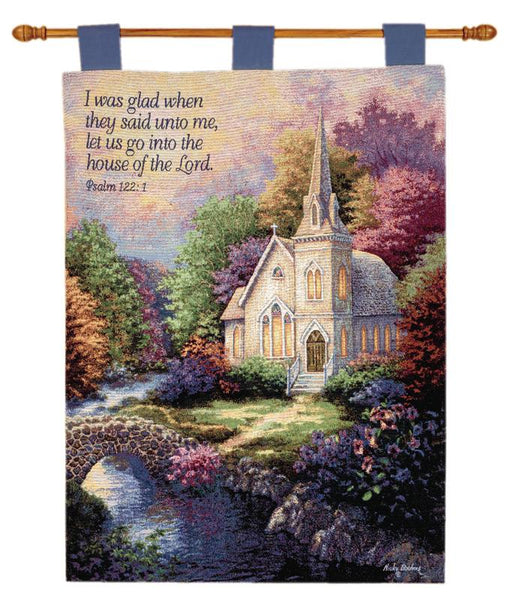 Church In The Country Fine Art Tapestry