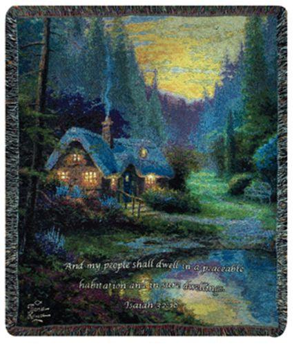 Meadowood Cottage w/Verse Tapestry Throw