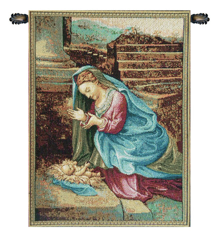 Madonna Adoring the Child Italian Tapestry Wallhanging