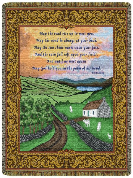 Irish Blessing  Tapestry Throw