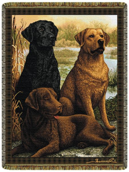 Labs In The Field  Tapestry Throw