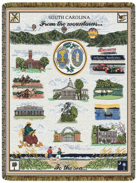 South Carolina From The Mountains Tapestry Throw