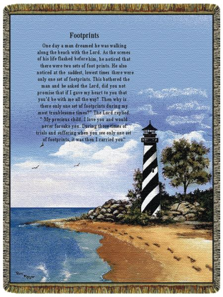 Lighthouse Footprints  Tapestry Throw
