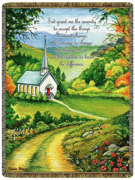 Serenity Prayer Church  Tapestry Throw