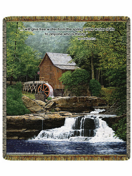 Glade Creek Mill  Tapestry Throw