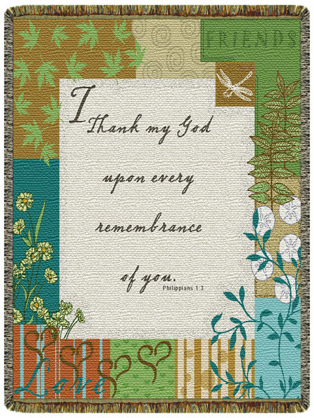Philippians 1:3  Tapestry Throw