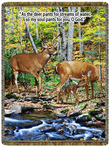 Deer - Streams of Water  Tapestry Throw