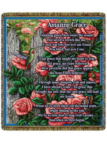 Amazing Grace Roses Tapestry Throw