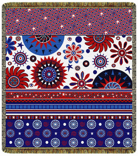 Red, White, Blue and Fun  Tapestry Throw
