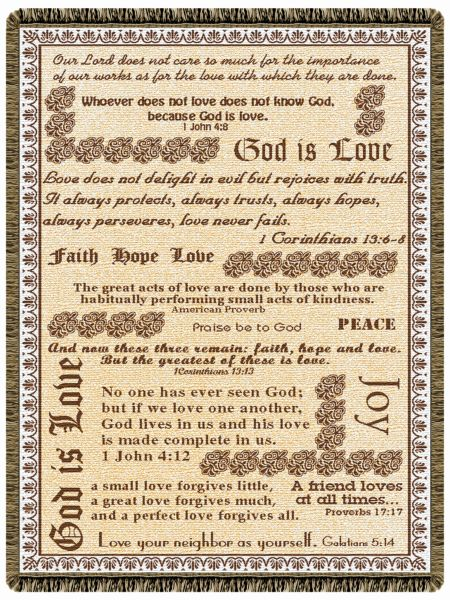 God Is Love  Tapestry Throw