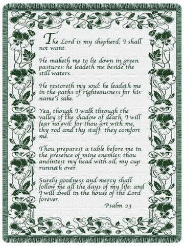 23rd Psalm Hunter Green Tapestry Throw