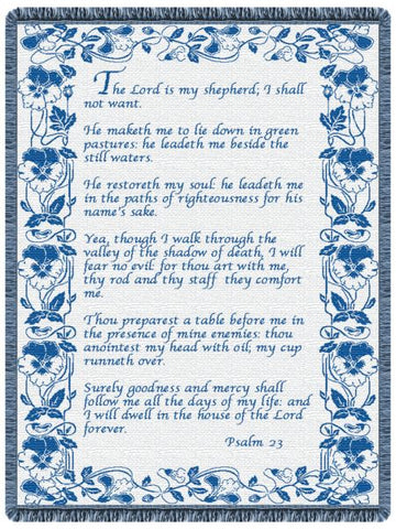 23rd Psalm Country Blue  Tapestry Throw