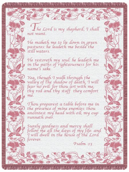 23rd Psalm Mauve  Tapestry Throw
