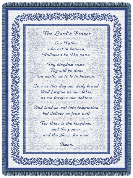 Lord's Prayer Navy  Tapestry Throw