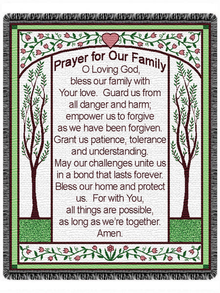 Prayer For Our Family  Tapestry Throw