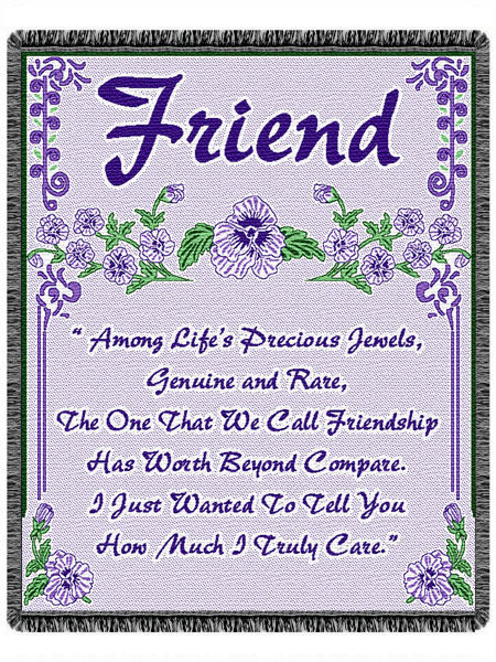 Friend Poem Tapestry Throw