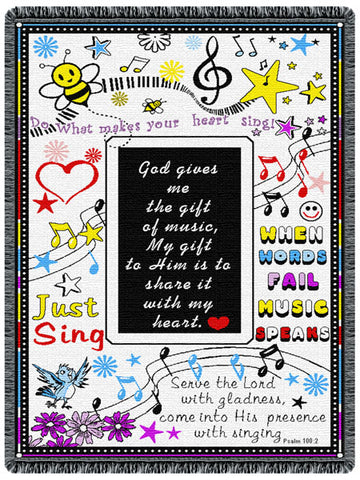 Music Music Music  Tapestry Throw
