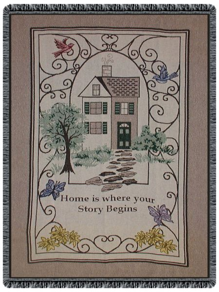 Home Is Where Your Story Begins Tapestry Throw