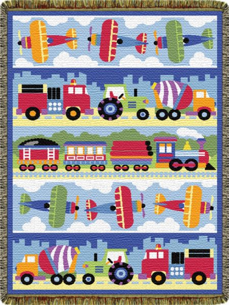 Trains Planes and Trucks  Tapestry Throw
