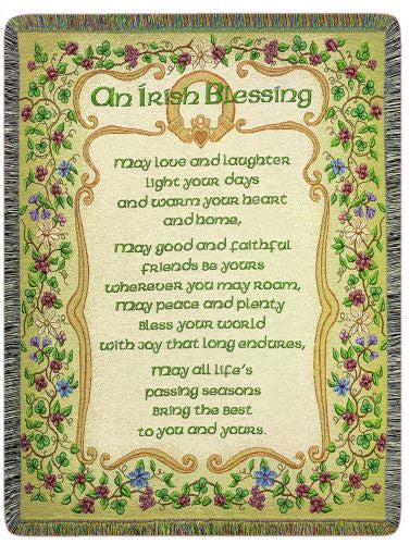 Peace and Plenty Irish Blessing Tapestry Throw
