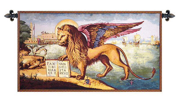 Lion Arrives in Venice Italian Tapestry Wallhanging