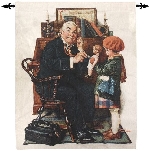 Norman Rockwell Doctor and the Doll Fine Art Tapestry