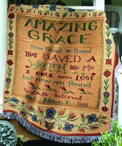 Amazing Grace How Sweet the Sound I Tapestry Decorative Afghan Throw