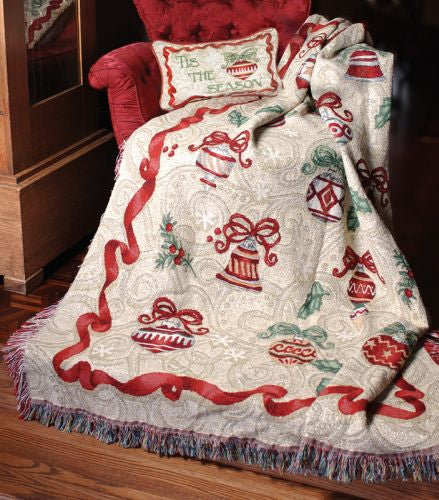 Ornamental Holiday Chenille Tapestry Throw