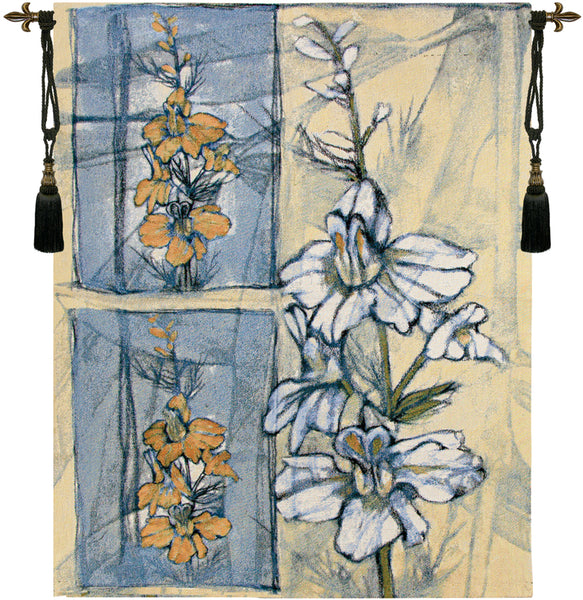 Embellished Wildflower Collage II Fine Art Tapestry