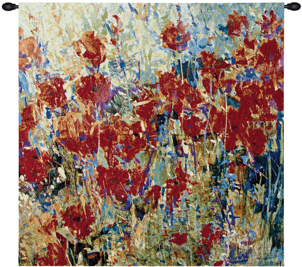 Red Poppy Field II Fine Art Tapestry
