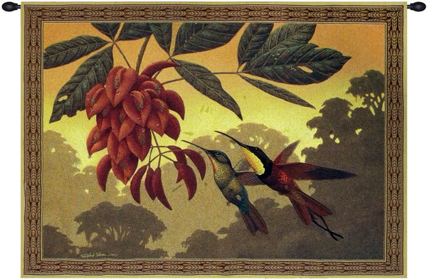 Hummingbird Flower Kissers Tapestry Wall Art