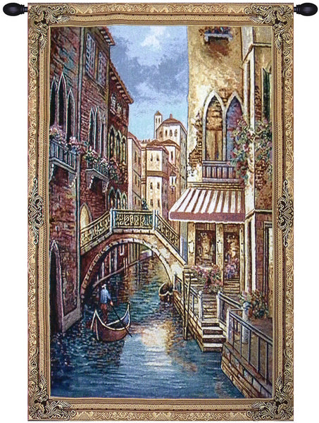 Canal With Shops II Tapestry Wall Art
