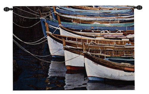 Row of Boats  Fine Art Tapestry