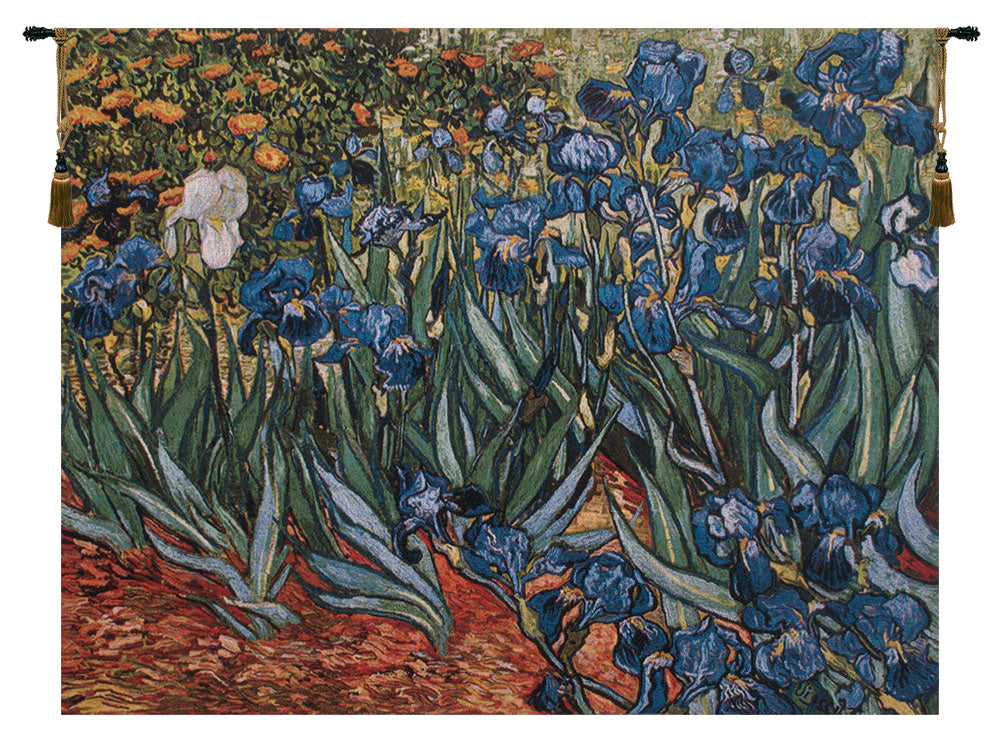 Irises in Garden Belgian Tapestry Wall Hanging