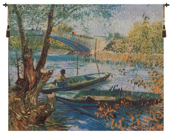 Angler and Boat at Pont de Clichy Belgian Tapestry Wall Hanging