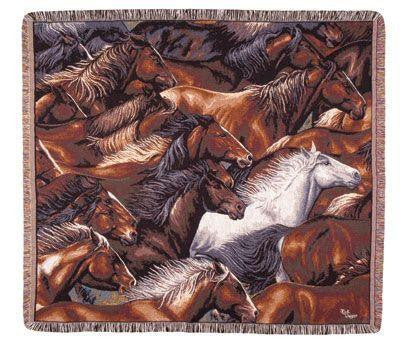 Horse of a Different Color Tapestry Throw