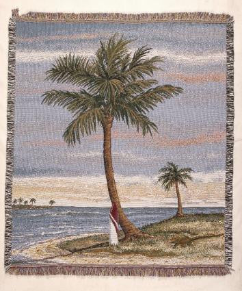 Tropical Palm  Tapestry Throw