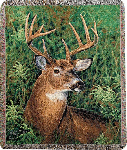 September Whitetail  Tapestry Throw