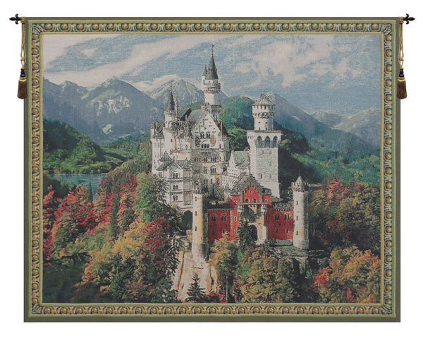 Neuschwanstein Castle Blue Belgian Tapestry Wall Hanging