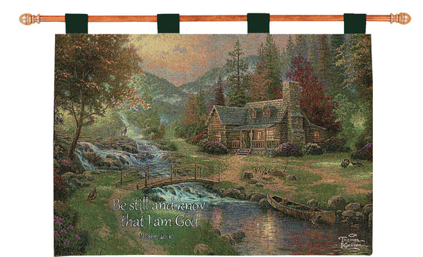 Mountain Paradise w/Verse by Kinkade Fine Art Tapestry