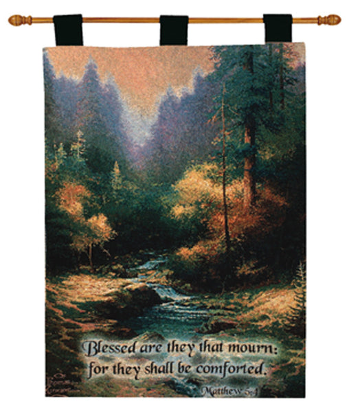 Creekside Trail w/Verse by Kinkade Fine Art Tapestry