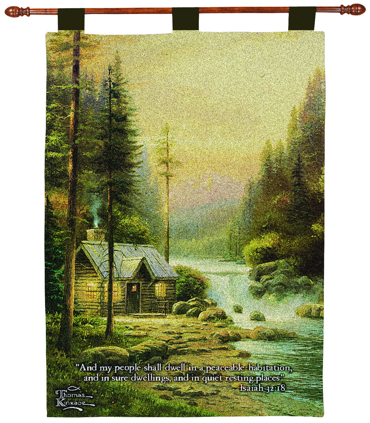 Evening in the Forest w/Verse by Kinkade Fine Art Tapestry