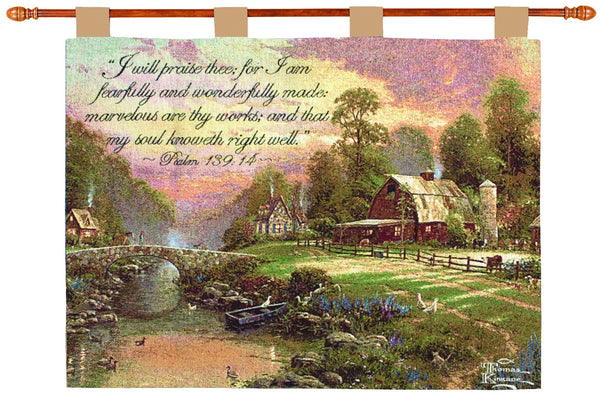 Sunset at Riverbend Farm w/Verse - Kinkade Fine Art Tapestry