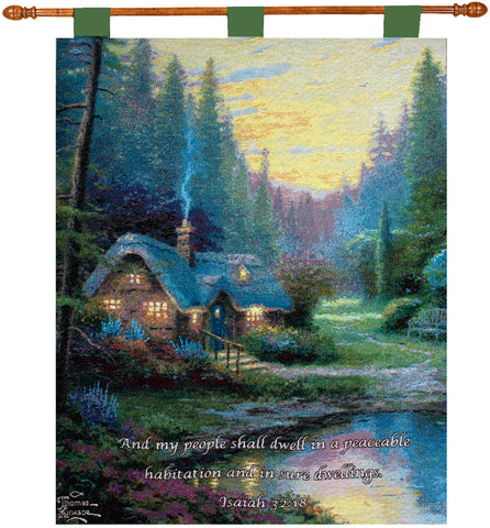 Meadowood Cottage by Kinkade Fine Art Tapestry
