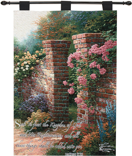The Rose Garden w/Verse  - Kinkade Fine Art Tapestry
